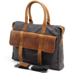 Canvas messenger bag shoulder bag with leather handle