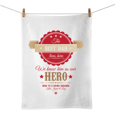 Hero personalised tea towel