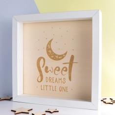 Sweet Dreams Little One Wood Print Box Frame