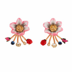 Pink flower, ladybird and berries removable clasp earrings