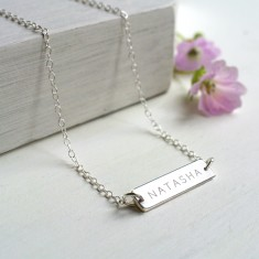 Personalised Sterling Silver Little Name Bar Necklace