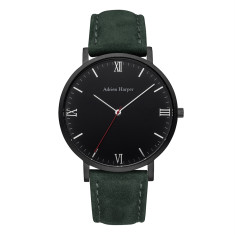 Men's Black Green Suede Watch