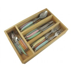 Laguiole by Louis Thiers 24-piece cutlery set with pastel coloured handles