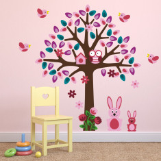 Pink Tree With Bunny Rabbits Wall Sticker