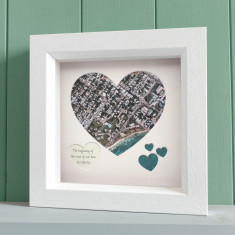 Personalised map heart (aerial view)