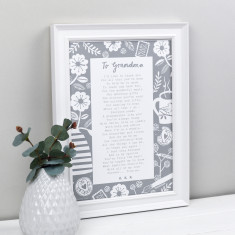Letter to grandmother personalised poem print