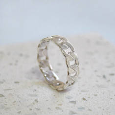 Men's Sterling Silver Chain Link Ring