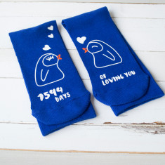 Personalised Days Of Loving You Penguin Socks