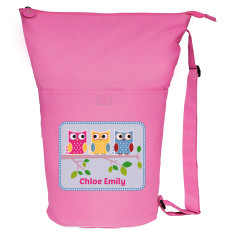 Personalised friendly owls swim bag