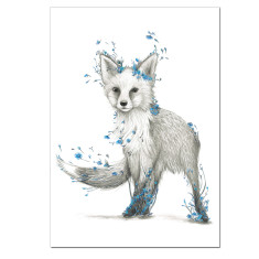 Fox Print with Blue Flowers