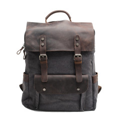 Canvas Backpack/Laptop Bag With Pockets In Grey