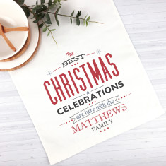 Christmas Celebrations Personalised Christmas table runner (3 sizes)