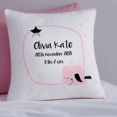 Personalised Pink New Baby Whale Cushion Cover