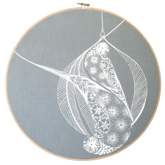 Screen printed lorikeet framed in embroidery hoop (grey blue)