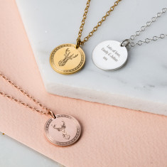 Personalised Stag Coin Necklace