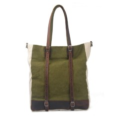 Green canvas tote bag with detachable shoulder strap