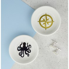 Mens Jewellery & Cufflink Dish - Octopus & Compass