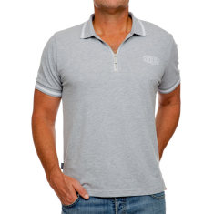 Classic grey men's polo with zipper