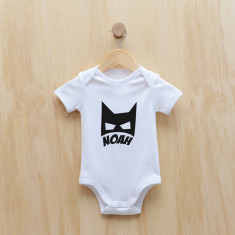 Personalised bat mask bodysuit/onesie