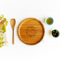 Bamboo side plate in fern