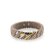 Mini woven pixel bracelet in taupe and metal