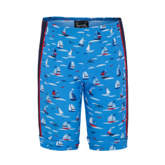 Boys' UPF 50+ regatta print bike short for swimming