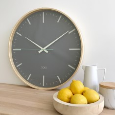 Helene Wooden SILENT SWEEP Wall Clock 51cm by Toki