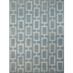 Maya steel blue hand knotted wool & art silk rug