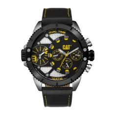 CAT DV series dual timer watch in gun metal black, steel with leather band plus FREE GIFT