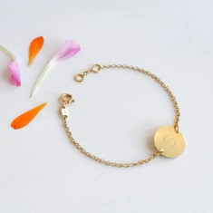 Personalised Gold Initial Disc Bracelet