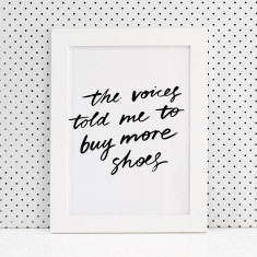 The voices told me brush lettering print