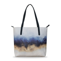 Blue & Gold vegan Leather Medium Tote Handbag