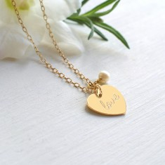 Personalised Gold 'love' Heart and Freshwater Pearl Bride Necklace