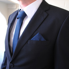 Edward Pocket Square in Navy