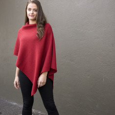 Red Classic Wool Poncho