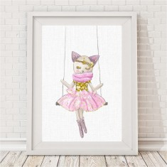 Kitten Sparkle Swing Print