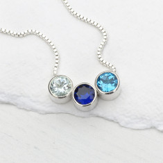 Personalised Birthstone Necklace in Sterling Silver