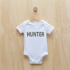 Personalised wild animal text bodysuit/onesie in yellow or pink