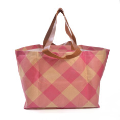 Large neverful tote in gingham