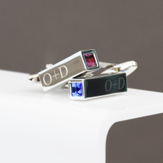 Birthstone Couples Personalised Bar Cufflinks
