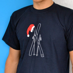 Christmas Skis In Santa Hat T Shirt