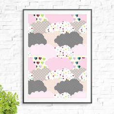 Happy clouds print