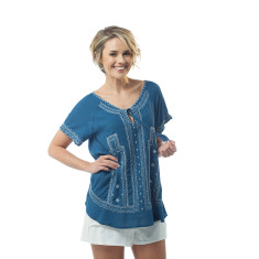 Nicole top in classic blue and lucite green