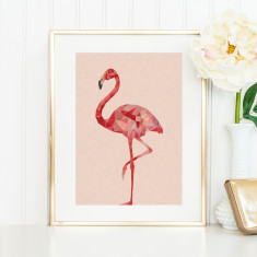 Geometric flamingo art print