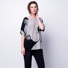 Flying thread ink print cashmere pullover