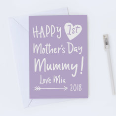 Personalised First Mother's Day Card - Various Colours