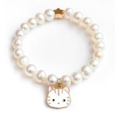 Freshwater pearl bracelet with kitten charm