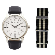 Classic Silver Watch with Black Leather Strap & Travel Case