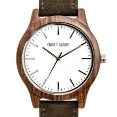 Brando black sandalwood and suede watch