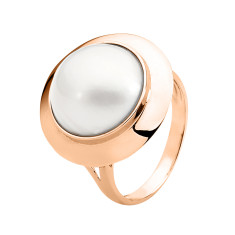 White mabe pearl 9ct rose gold ring